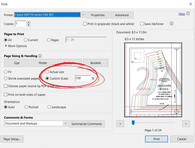 Image shows Adobe Reader print settings, with Custom Scale 100% circled, as it should be checked.
