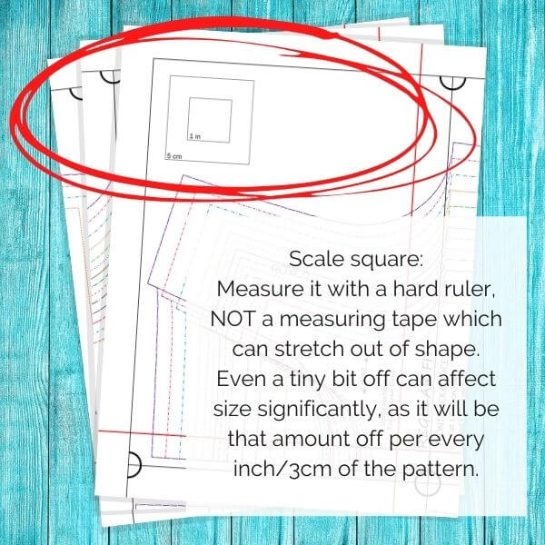 Image shows a scale square on a sewing pattern and suggests to measure it with a hard ruler instead of a measuring tape