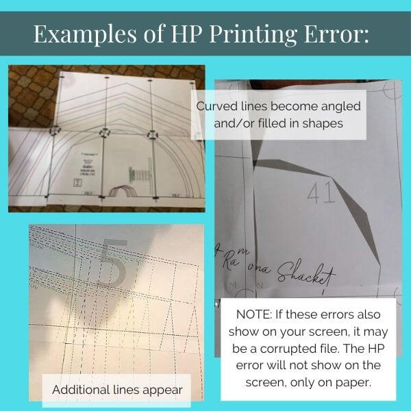 Image shows examples of HP printing errors - curved lines changed to angles, and extra lines.